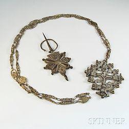 19th Century Russian Silver Cross and Penannular Cloak Pin
