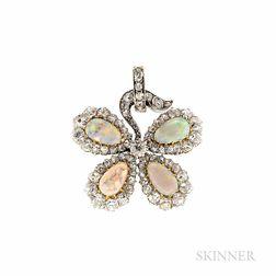 Edwardian Opal and Diamond Four-leaf Clover Pendant