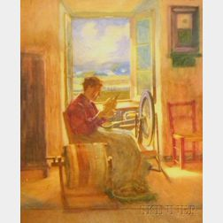 Framed 20th Century Canadian School Gouache on Paper/board, Interior...Beaupre...River St. L in Distance / Woman Spinning Wool Befor...