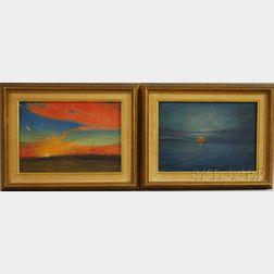 American School, 20th Century      Lot of Two Sunset Scenes: Sunset, Texas near San Antonio