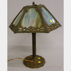 Miller Lamp Co. Cast Iron and Gilt-metal Table Lamp with a Hexagonal Metal Overlay   Slag Glass Panel Shade