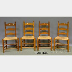 Six Wallace Nutting Maple Slat-back Pilgrim Chairs