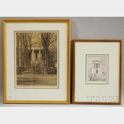 Albert Kruse (Delaware, 1897-1974)      Two Delaware Architectural Views.
