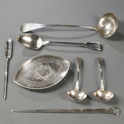 Six Pieces of George II/III Sterling Silver Tableware