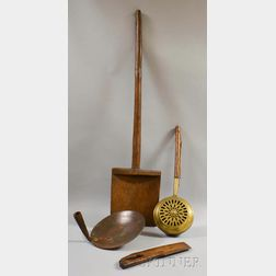 Four Wood and Metal Kitchen Implements