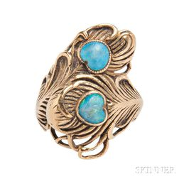 Art Nouveau 18kt Gold and Opal Ring