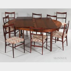 Manner of Gio Ponti Dining Table and Eight Chairs