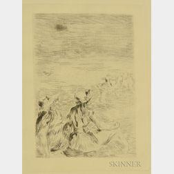 Pierre-Auguste Renoir (French, 1841-1919)      Sur la plage, à Berneval