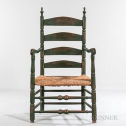 Green-painted Slat-back Armchair