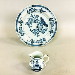 Blue and White Tin-glazed Earthenware Plate and a Blue and White Cream Jug
