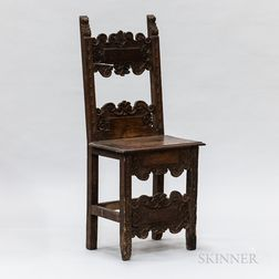 Italian Baroque Carved Walnut Side Chair