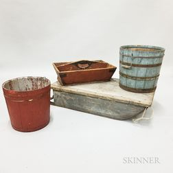 Two Painted Buckets, a Tool Caddy, and a Sled
