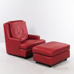 Roche Bobois Red Leather Lounge Chair and Ottoman