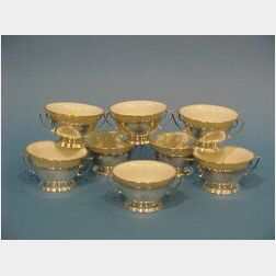 Set of Eight Reed and Barton Sterling Silver Soup Frames and Lenox Porcelain Liners.