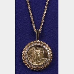 14kt Gold and Diamond Coin Necklace