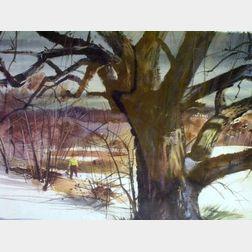 Double-Sided Watercolor Landscape, Winter