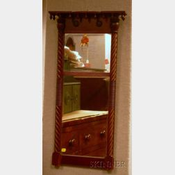 Country Classical Carved Mahogany Tabernacle Mirror