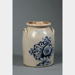 Stoneware Crock with Cobalt Compote of Flowers
