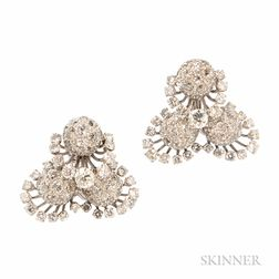 18kt White Gold and Diamond Earclips