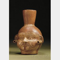 Pre-Columbian Painted Pottery Portrait Head Vessel