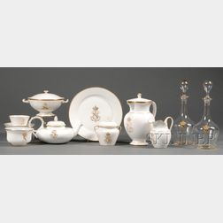 Sevres Porcelain Gold-rimmed Partial Tea and Coffee Service