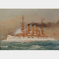 Fred Pansing (New Jersey, 1844-1912)      Portrait of the U.S.S. Rhode Island (B.B.-17).