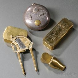 Four Antique Brass Tobacco Boxes and a Brass and Steel Tobacco Cutter