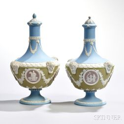 Two Wedgwood Four-color Jasper Dip Barber Bottles and Covers