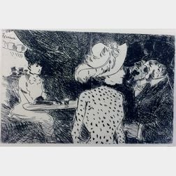 Four Drypoint Etchings: Jean Louis Forain (French, 1852-1931), Folies Bergeres II; Joseph Victor Roux Champion (French, 1871-1953), Mau