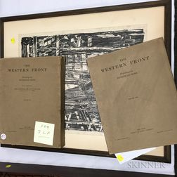 Muirhead Bone Framed Lithograph and Two Volumes of The Western Front.