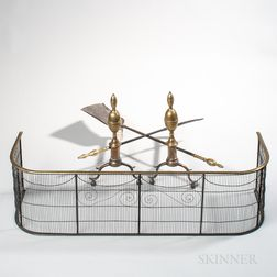 Pair of Brass and Iron Double Lemon-top Andirons, Matching Tools, and Wirework Fender