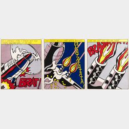 After Roy Lichtenstein (American, 1923-1997)      As I Opened Fire.../A Triptych