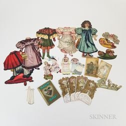 Collection of Lithographed Paper Dolls and Victorian Ephemera.     Estimate $100-150