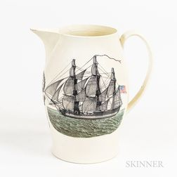"Liverpool ""Washington in Glory"" Transfer-decorated Creamware Pitcher"
