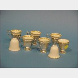 Set of Six Sterling Silver Demitasse Frames and Eight Lenox Porcelain Liners.