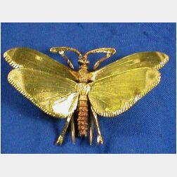 18kt Bi-color Gold Butterfly Brooch