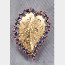 14kt Gold Gem-set Leaf Brooch, John Rubel Co.