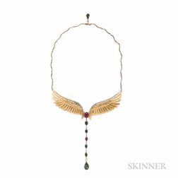 "18kt Gold, Tourmaline, and Diamond ""Angel's Wings"" Necklace, Mariana Gorga"