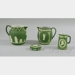 Four Wedgwood Olive Green Jasper Dip Items