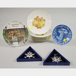 Six German Porcelain Fruit Collectors Plates, a Collectors Plate, Two Swarovski Christmas Ornaments, and a Royal Copenhagen Porcel...
