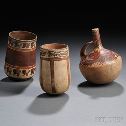 Three Nasca Polychrome Pottery Vessels