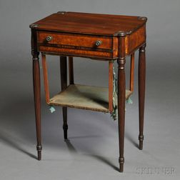 Federal Mahogany Carved and Figured Walnut and Rosewood Inlaid Worktable