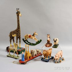 Group of Contemporary Folk Art Carved and Painted Wood Toys
