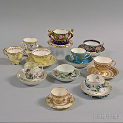 Twenty-one Assorted Porcelain Cups and Saucers