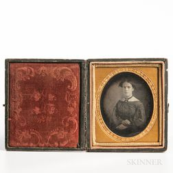 Sixth-plate Daguerreotype of a Young Woman with Crossed Arms