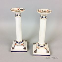 Pair of Wedgwood Ceramic Columnar Candlesticks