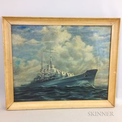 American School, 20th Century    Portrait of a Naval Vessel