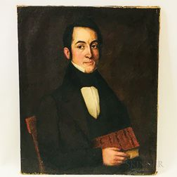American School, 19th Century       Portrait of a Man with a Book