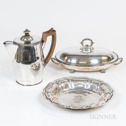 Italian Silver Dish, a Silver-plated Pitcher, and an English Silver-plated Footed Covered Vegetable Server