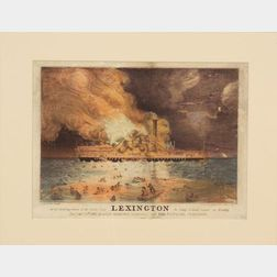 Nathaniel Currier, publisher (American, 1813-1888)   Awful Conflagration of the Steamboat LEXINGTON In Long Island Sound on Monday Eve
